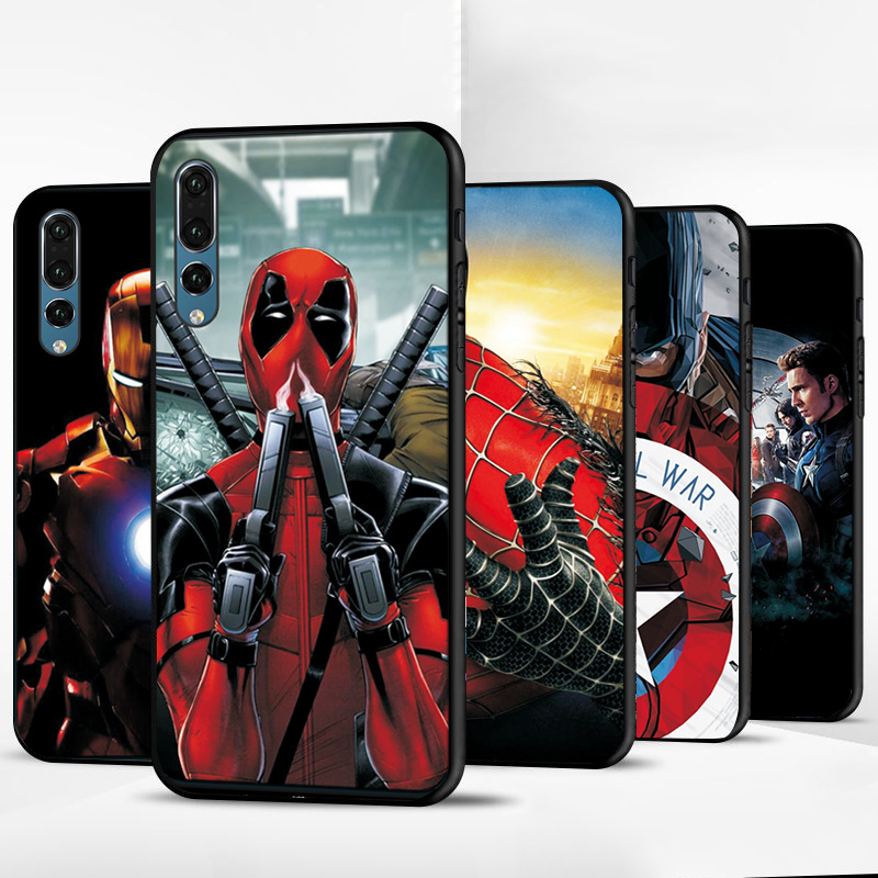 Hero <font><b>Marvel</b></font> For <font><b>Huawei</b></font> P20 <font><b>Lite</b></font> Silicone Case Black TPU Case For <font><b>Huawei</b></font> P Smart Z <font><b>Cover</b></font> <font><b>Huawei</b></font> P8 P9 <font><b>P10</b></font> <font><b>Lite</b></font> 2017 P30 <font><b>Lite</b></font> Case image
