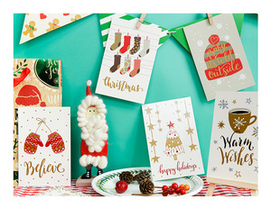 Image 5 - 60pcs Christmas Postcards Set Gift Cards Postales Cute Santa Snowman Post Card Holidays Decorative DIY Wholesale