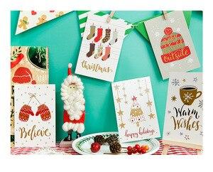 Image 5 - 60pcs חג המולד גלויות סט מתנת כרטיסי Postales חמוד סנטה איש שלג הודעה כרטיס חגים דקורטיבי DIY סיטונאי