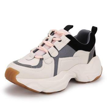 CINESSD Leather Chaussures Casual Shoes Women Sneakers Platform Fashion 2020 Spring Pigskin Chunky Sneakers For Women Shoes New