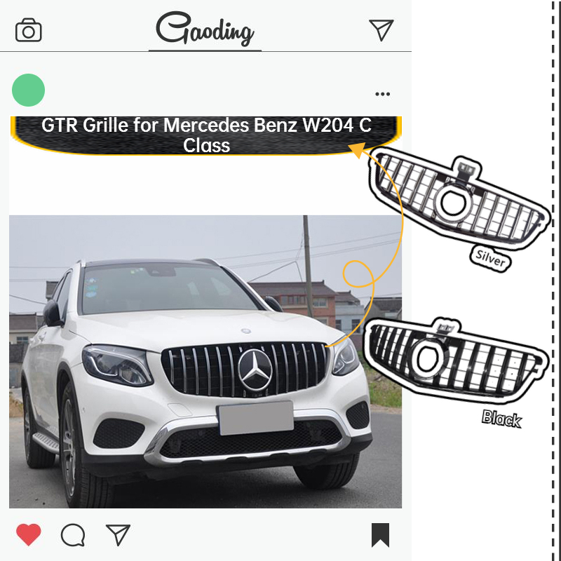 ABS Front <font><b>Grille</b></font> for Mercedes <font><b>Benz</b></font> <font><b>W204</b></font> <font><b>Grille</b></font> Car Accessories GT GTR C Class C180 C200 C250 C300 2007-14 Exterior Decoration image