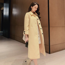 Fall Autumn Winter Korean Leisure Overcoat Women Wool Blends Coat Jacket Womens Long Elegant Jackets Coats Blend Sky Blue Tops