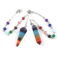 Pêndulo/pingente/porta-chaves com sete pedras naturais efeito arco-iris
