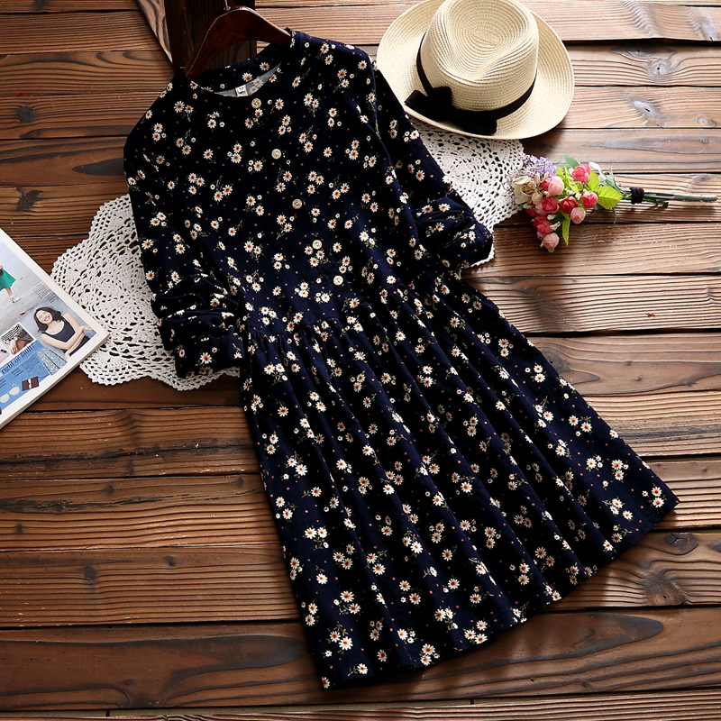 2019 New Style Japanese-style Mori Girl Small Floral Stand Collar Long Sleeve Slimming Corduroy Dress Short Skirt