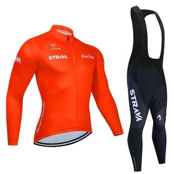 STRAVA-Ropa de Ciclismo para hombre, traje de manga larga, Maillot de Ciclismo...