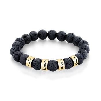Stainless Steel Natural Black Volcanic Lava Stone Beads Bracelets For Women Men Customize Names Dates New Custom Jewelry natural black custom name lava