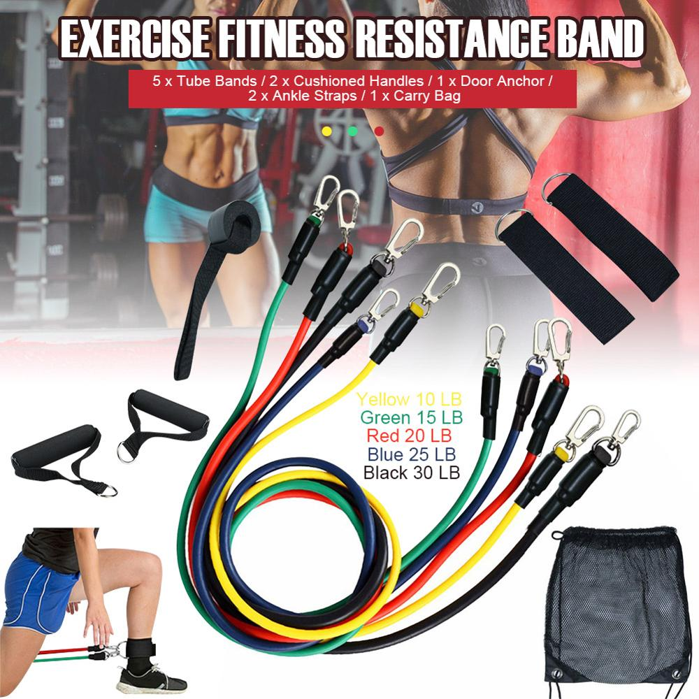 11pcs iron Pull Rope Resistance Bands Set Resistance Training  Home Workouts Yoga Band Gym Fitness Equipment