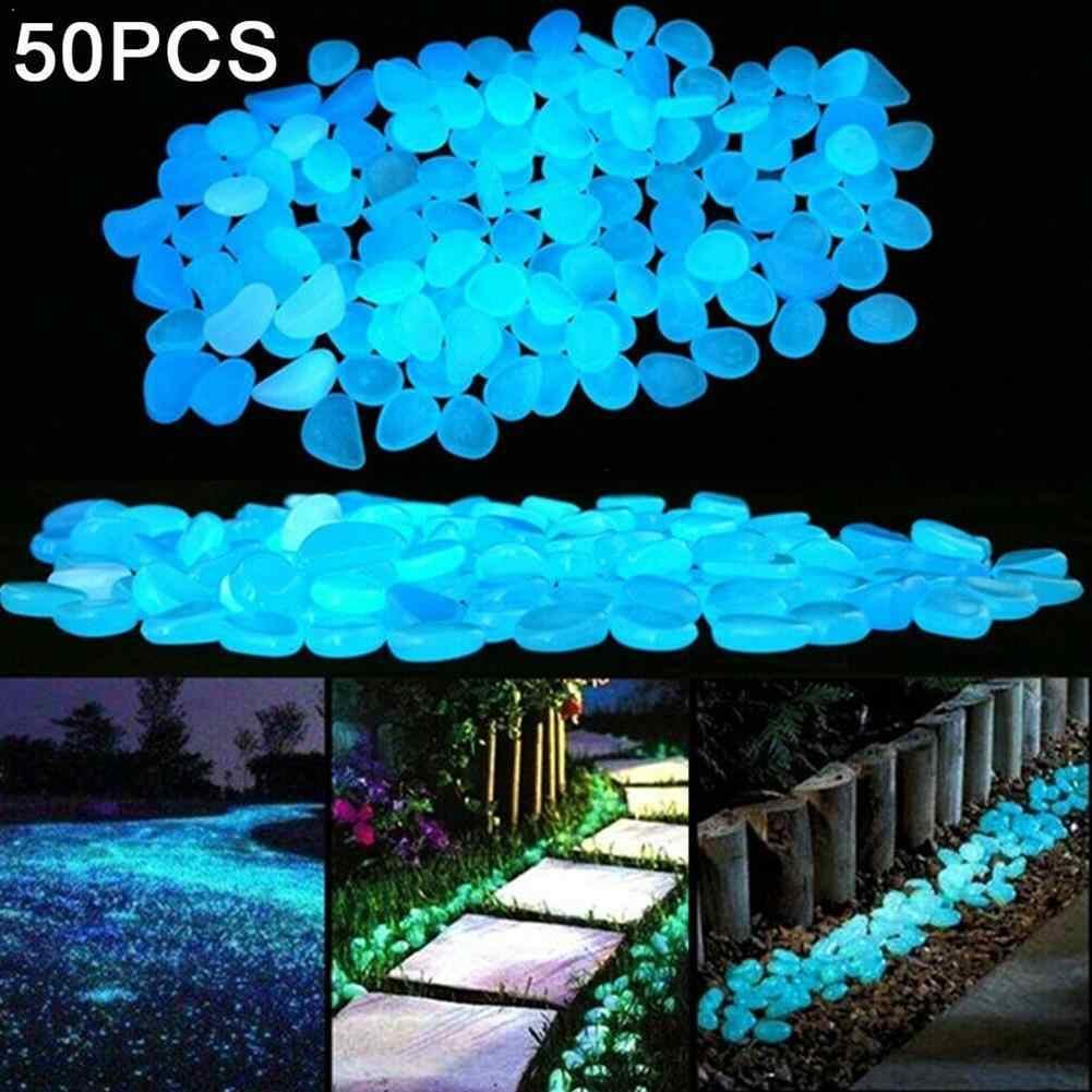100PCs Garden Decor Luminous Stones Glow In Dark DecorativeFish Decoration Rocks