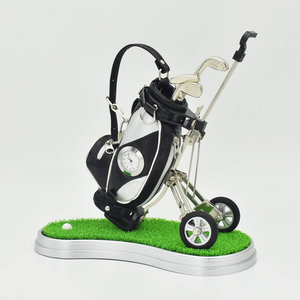 Novelty Golf Pens Holder With Clock And Lawn Tray Unique Christmas Golf Gift For Golfer Fanatic Fans Desk Decoration Boss Xmas