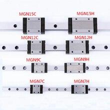 1 шт. линейная направляющая мини MGN7 MGN9 MGN12 MGN15 блок MR7 MR9 MR12 MR15+ 1 шт. длинная или стандартная MGN каретка часть 3d принтера