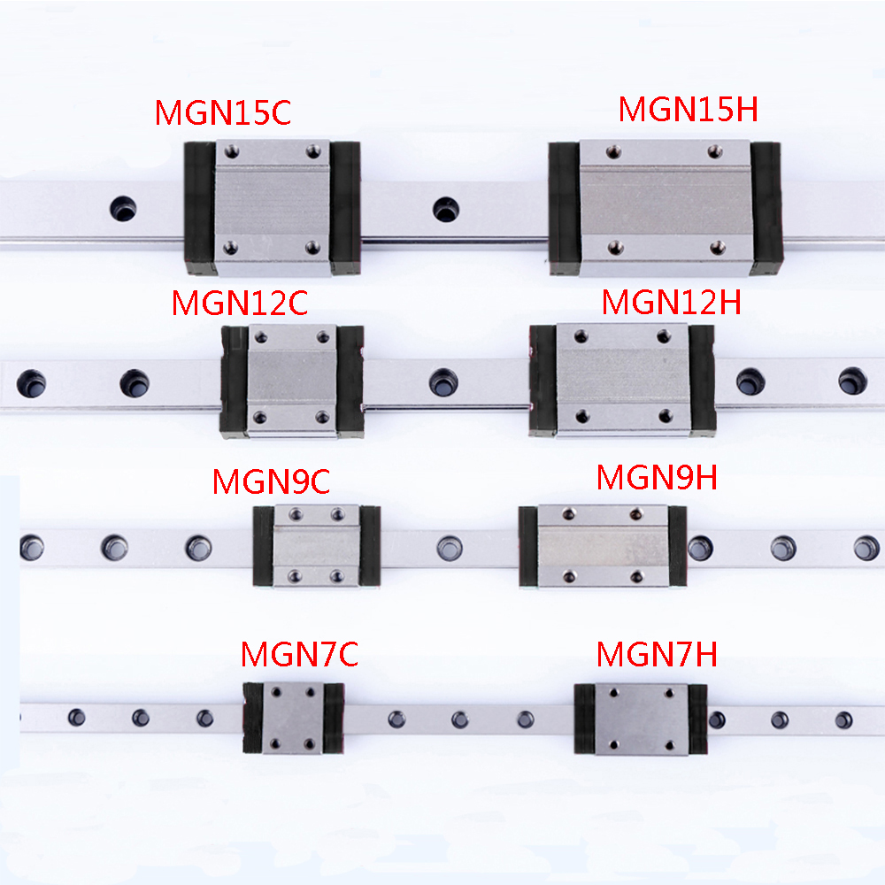 1PCS Linear Rail Guide Mini MGN7 MGN9 MGN12 MGN15 Block MR7 MR9 MR12 MR15  + 1PCS Long Or Standard MGN Carriage 3d Printer Part