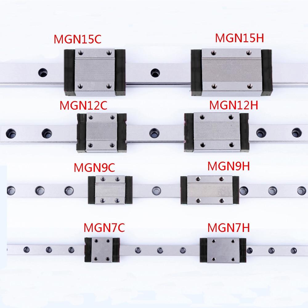 7mm 9mm 12mm 15mm Linear Guide  L=100 200 300 350 400 450 500 550 600 Linear Rail Way MGN12C MGN12H MGN7C MGN9C MGN9H Carriag