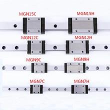 MGN7 MGN12 MGN15 MGN9 300 350 400 450 500 600 800 milímetros em miniatura trilho deslizante linear transporte guia linear + 1pcMGN9H 1pcMGN9