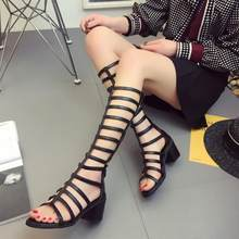 SWYIVY Women Summer Boots High Heels Black Sandals Shoes 2020 New Lady Sexy Tall Summer Shoes Boots Rome Shoes(China)