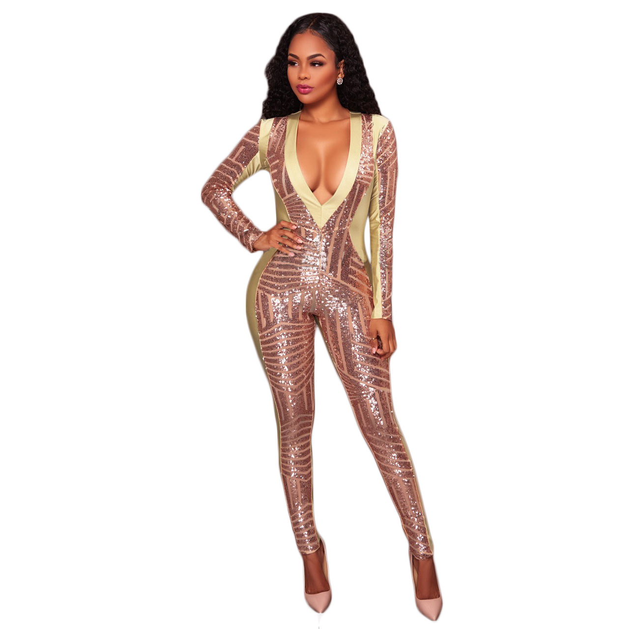 Sexy Fashion Gilding Sequined Women Jumpsuit Christmas V-neck Long Sleeve Casual Romper Club Party Overalls Jumper