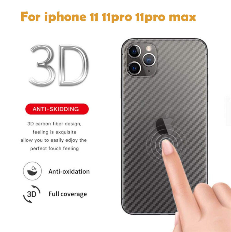 5PCS 3D Back Sticker Screen Protector For iPhone 11 Pro MAX Transparent Back Film For iPhoneXS MAX XR 7 8 PLUS Carbon Fiber Film(China)