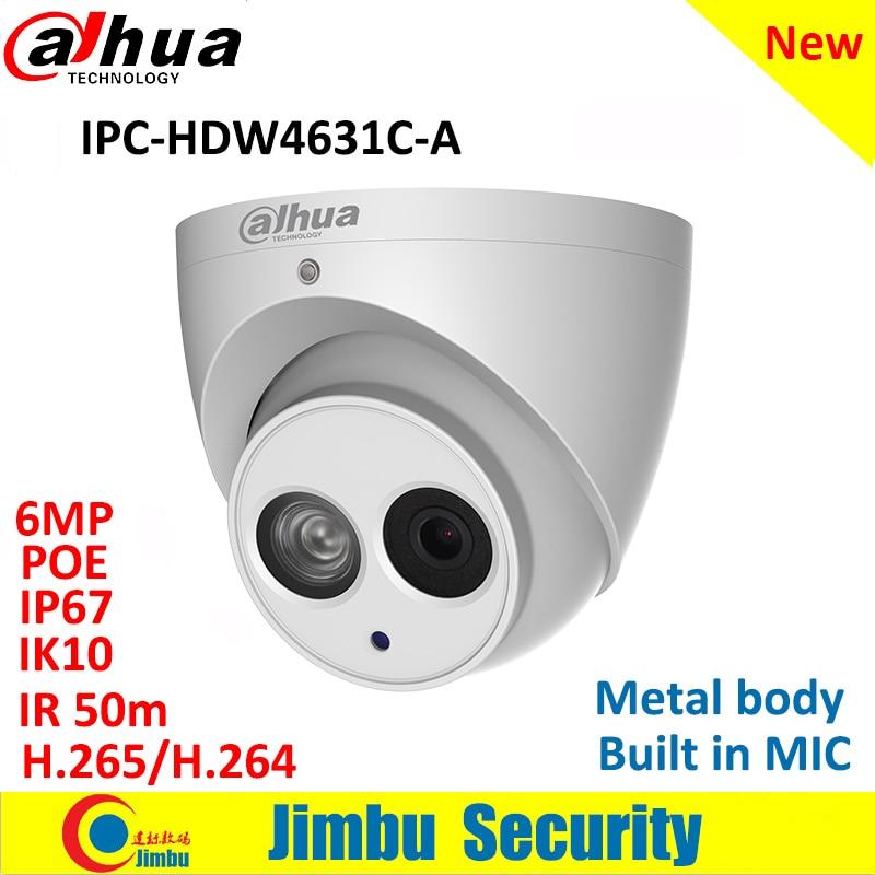 Dahua Ip Camera IPC-HDW4631C-A  6MP Dome Camera Metal Body POE Dahua 6 H.265 Built-in MIC IR50m IP67 IK10