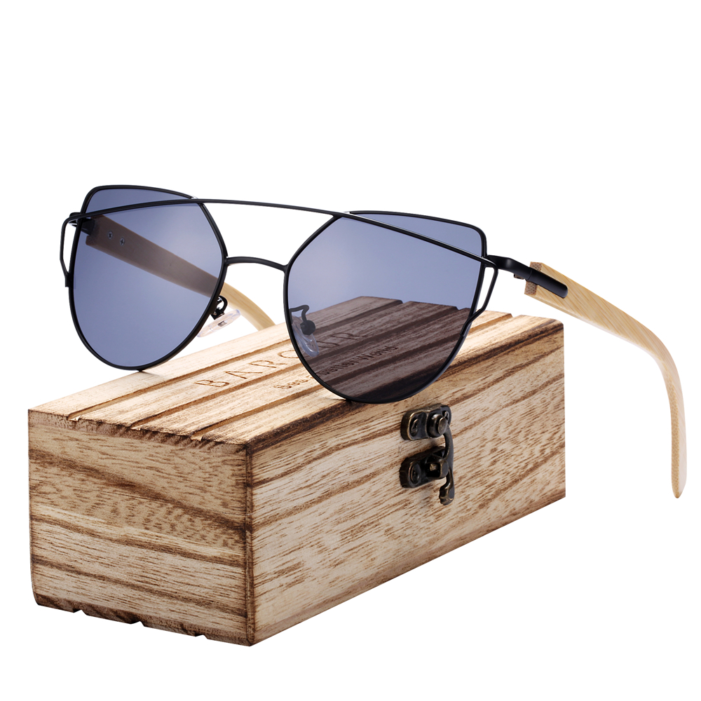 BARCUR Cat Eye Sunglasses for Women Polarized Sun glasses Fashion Style With Wood Box Free