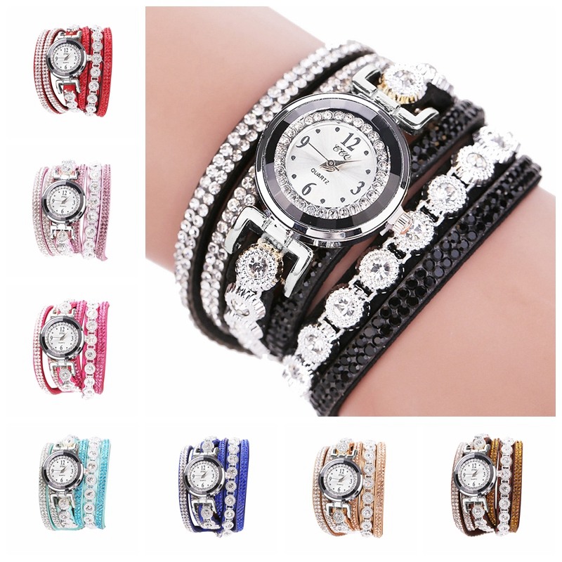 Fashion Quartz Watch Women Watches  Leather Bracelet Vintage Shining Crystal  Watch  Ladies Dial Analog Dress Wrist Watch Gift