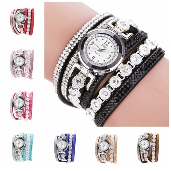 Fashion Quartz Watch Women Watches  Leather Bracelet Vintage Shining Crystal  Watch  Ladies Dial Analog Dress Wrist Watch Gift 2020 new fashion women crystal quartz rhombus bracelet bangle wrist watch freeshipping