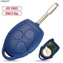 Jingyuqin пульт дистанционного управления автомобильный ключ 433 МГц 4D63 чип для Ford Transit WM VM 2006-2014 6C1T15K601AG FO21 O-E-M 3 кнопки FOB