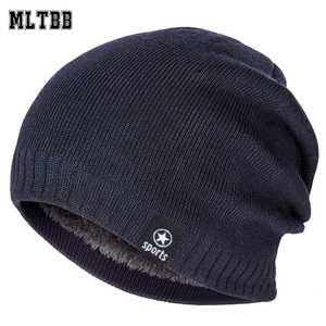 New Winter Hat Men Solid Color Knitting Wool Beanies Autumn Winter Warm Comfortable Hat Outdoor Accessories Thick Cotton Hats(China)