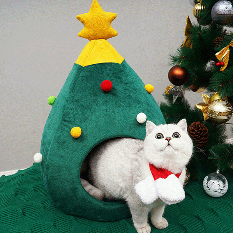 4-main-pet-cat-house-dog-bed-kennel-puppy-cave-warm-sleep-bed-christmas-tree-shape-winter-warm-bed-festival-theme-tree-hole-pet-supply