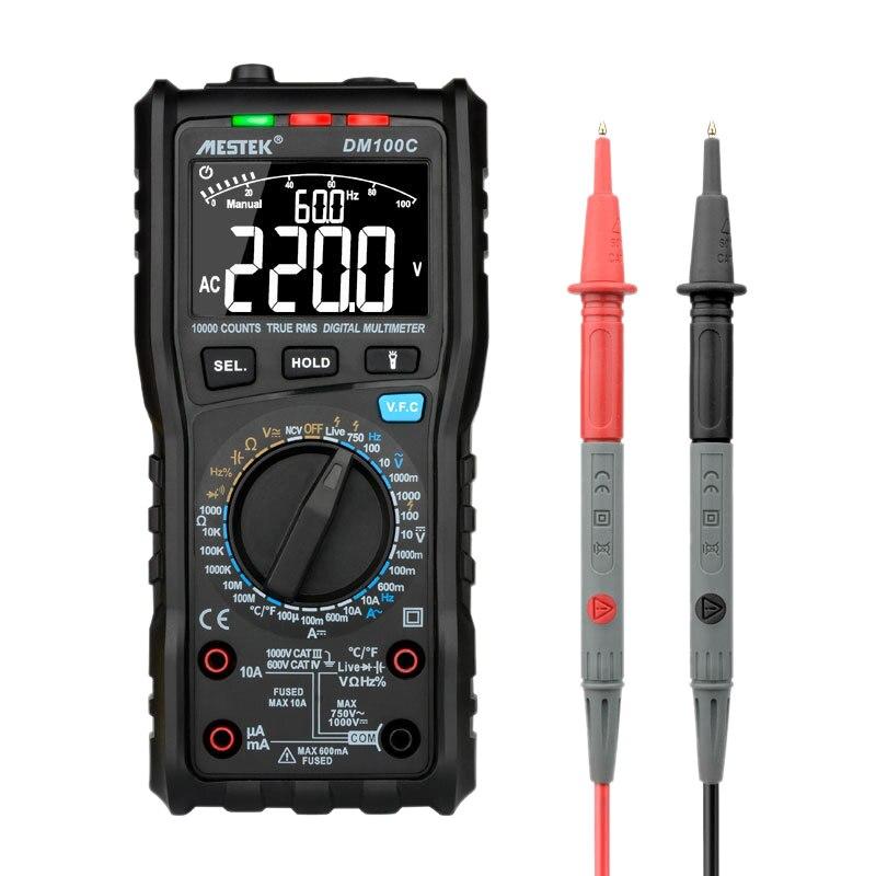 MESTEK DM100C True-RMS Digital Multimeter Button 10000 Count with Analog Bar Graph AC DC Voltage Ammeter Current Ohm Manual Auto