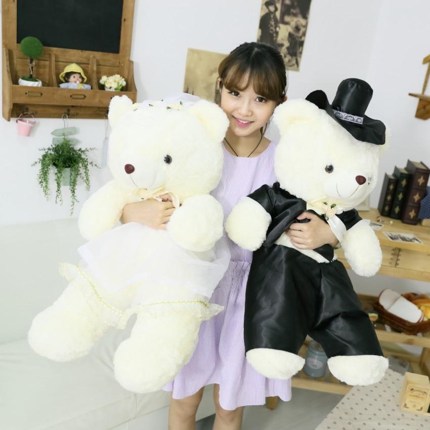 2pcs/pair  Couple Bear Wedding Teddy Bear Plush Toys Wedding Gift Christmas Gift Wholesale Wedding Gift Bear Bride & Groom Dero