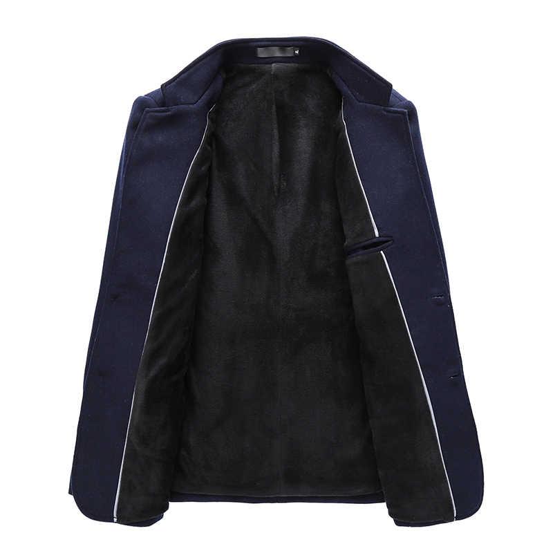 HCXY 2019 chaqueta de invierno para hombre chaqueta de abrigo Formal para hombre capa de lana para hombre más abrigo de terciopelo para hombre