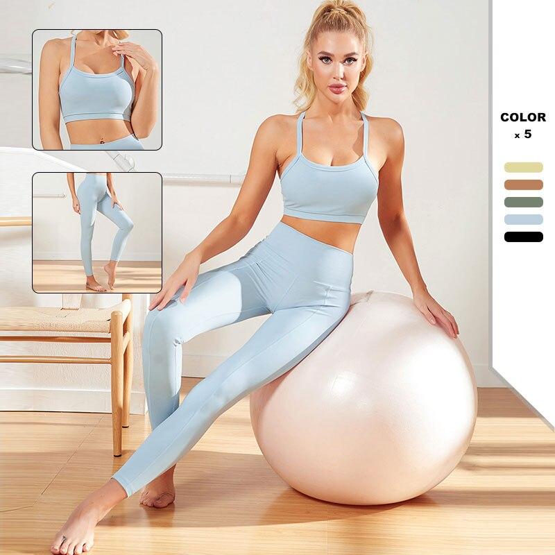 Vêtements dentraînement pour femmes, combinaison de Yoga, ensemble de sport, soutien-gorge et Leggings, taille haute, sans couture, nouvelle collection 2021