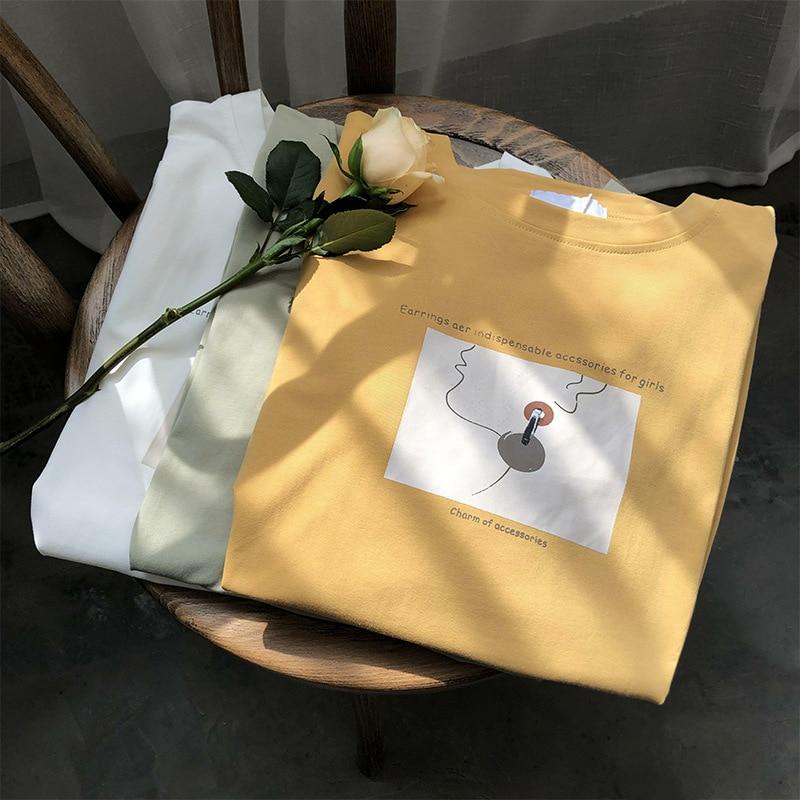 2020 Aesthetic Print Cotton Women T-shirt Short Sleeve Round Neck Loose Spring Summer Girls Korean Tees T Shirts