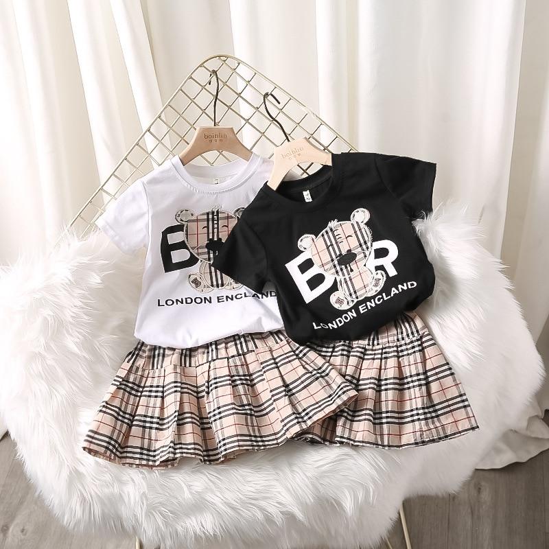 2021 New Style Bear Embroidery Baby Girl Short-sleeved T-shirt Shirt Plaid Skirt Girl Suit