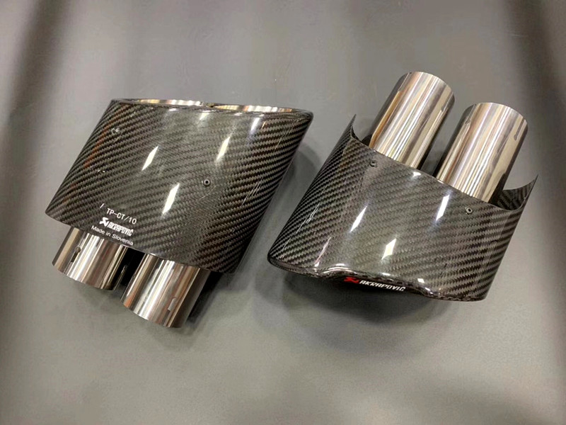 1 Pair Auto modified carbon fiber <font><b>Exhaust</b></font> Muffler Diffuser End Pipes Applicable to A u d i <font><b>S3</b></font> S4 S5 S6 S7 RS4 RS5 RS6 RS7 image