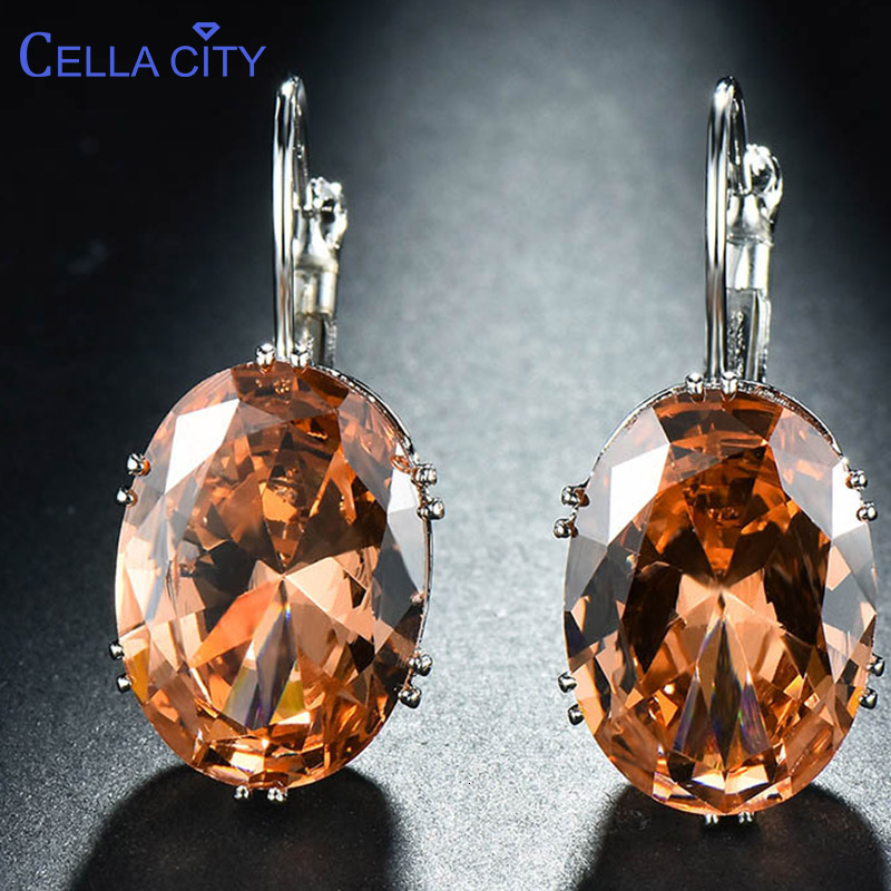Cellacity Korean 925 silver Earrings with oval citrine gemstone Engagement Earrings Drop Earrings For Women Jewelry wholesale