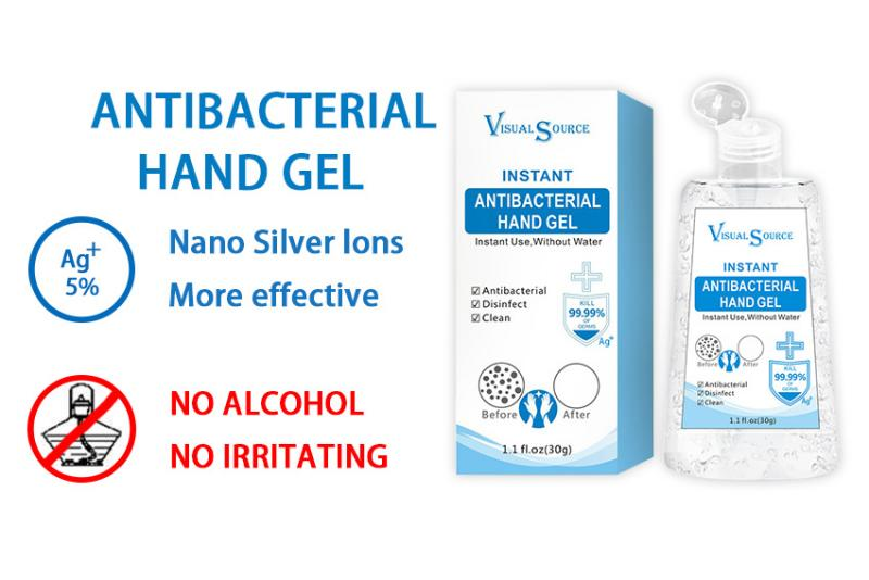 10pcs Antibacterial Hand Sanitizer Gel Active Nano Silver Ion Safely Cleaning Disinfection Gel Quick-dry No Water Required 30g