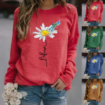 Hoodies Autumn Women's Sweatshirt Casual O-Neck Hoodie Pullovers Hoodie Sudaderas Para Mujer Print Women Blouse Long Sleeve ethnic plunging neck long sleeve print blouse for women