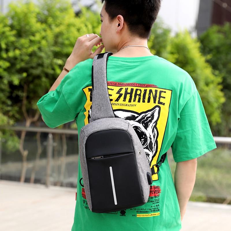 Fashion Simple MEN'S Single-shoulder Bag Shoulder Bag Chest Pack Charging Port Headphone Jack Single-shoulder Bag