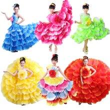 Элегантное детское платье-пачка для девочек с цветочным узором размера плюс; платье с открытыми плечами для Цыганского испанского фламенко; костюмы для латиноамериканских танцев