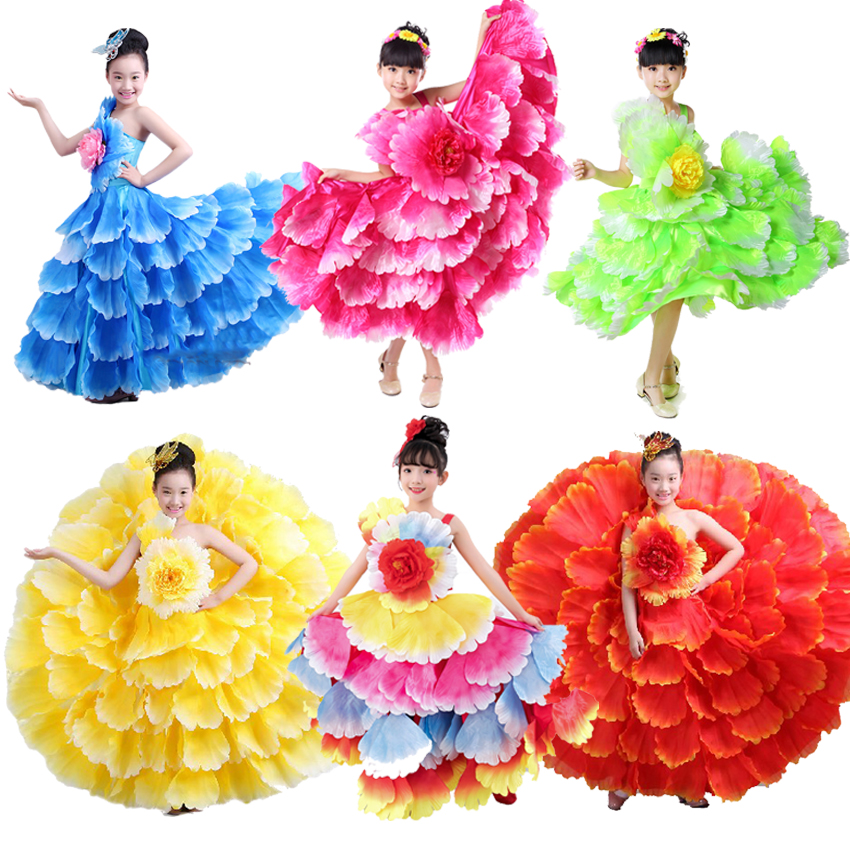 Floral Decoration Plus Size Elegant Wedding Kids Girls Tutu Dress Gypsy Spanish Flamenco Shoulder Off Dress Latin Dance Costumes