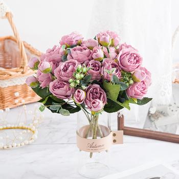 Różowe sztuczne kwiaty 9 głów jedwabny bukiet piwonii herbata róża sztuczna roślina dla DIY salon dom ogród ślub jesienna dekoracja tanie i dobre opinie CN (pochodzenie) Bukiet kwiatów Ślub Jedwabiu