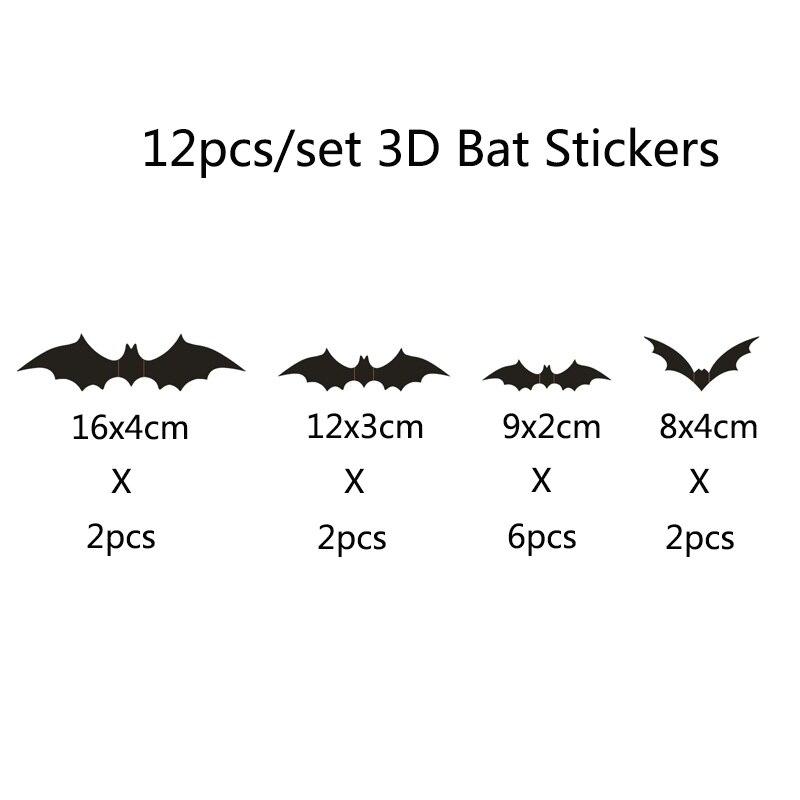 PVC 3D Decorative Scary Bats Wall Decal Wall Sticker TOPMU DIY Halloween Party Supplies,Static Glass Window Stickers Halloween Eve Decor Home Window Decoration for Home,Festivel Party,School
