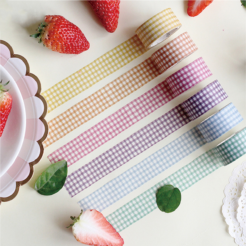 Mohamm Kawaii Glen Plaid Series Color Washi Masking Tape Release Paper Stickers Scrapbooking Stationery Decorative Tape
