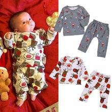 Рождественская Пижама для новорожденных мальчиков и девочек, Рождественская Ночная Пижама, Пижамный набор для детей 0-24 месяцев