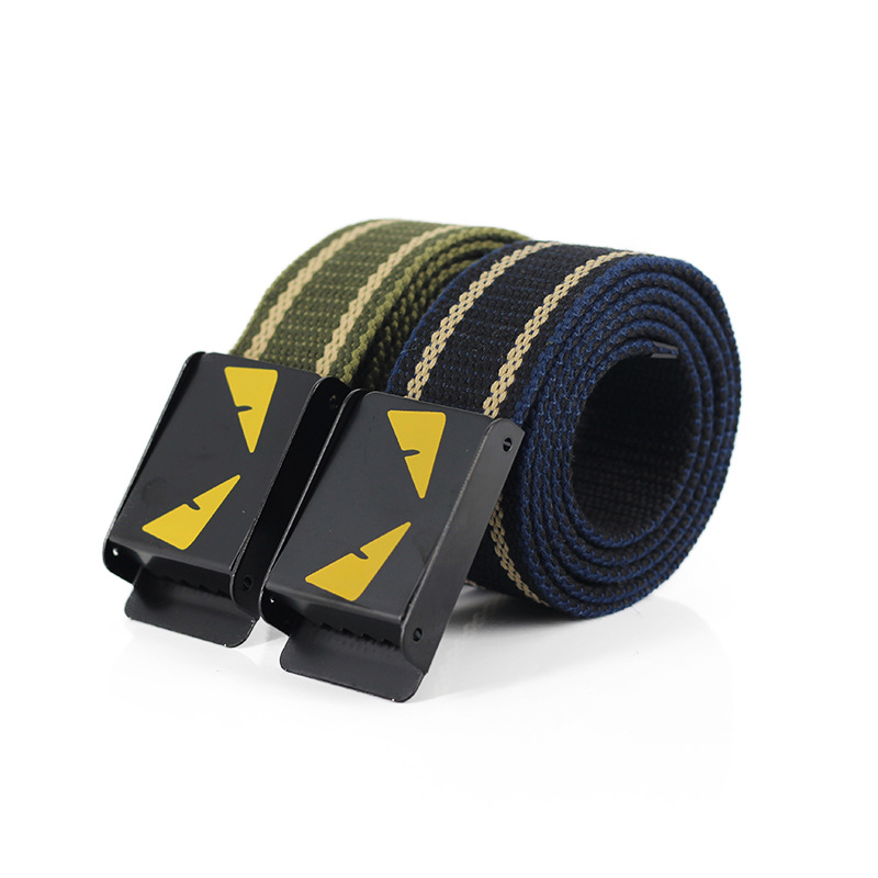 Mens Belts Korean Version Fashion Luxury Striped Canvas Belt for Both Men and Women High-quality Outdoor Casual Punk Unisex Belt(China)