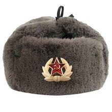 Winter Soviet Army Military Badge Russia Ushanka Thicken War