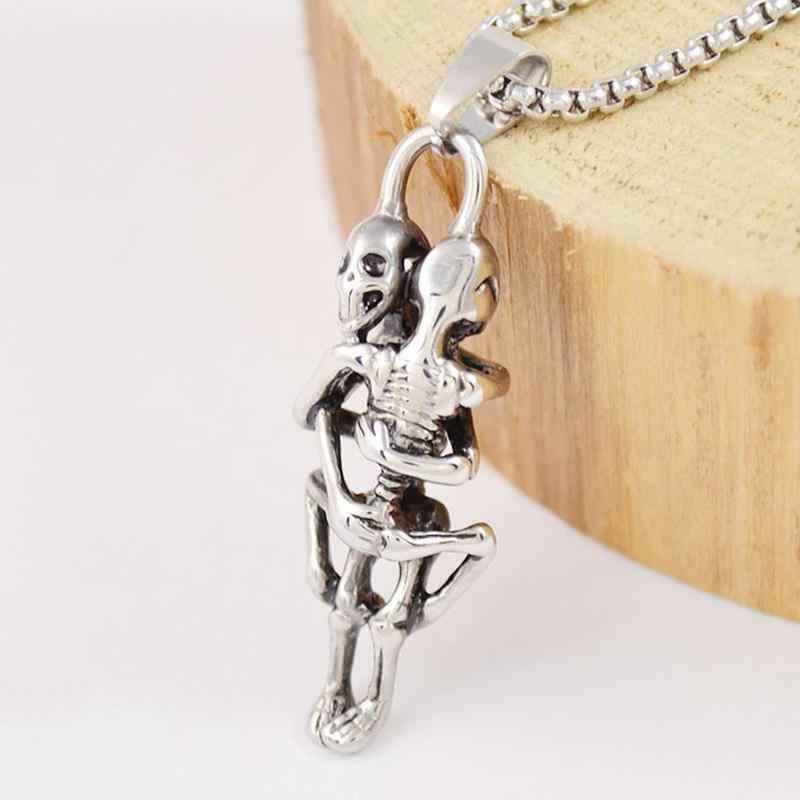 해골 커플 티타늄 스틸 목걸이 인간의 해골 포옹 여성 쥬얼리 남자 은색 체인 성격 멋진 펜던트 고백 U8E5