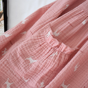 Image 5 - New Cotton Crepe Pyjamas Women Pajamas Sets Spring Long Sleeve Sleepwear O Neck Femme Lounge Pijama Mujer Household clothing