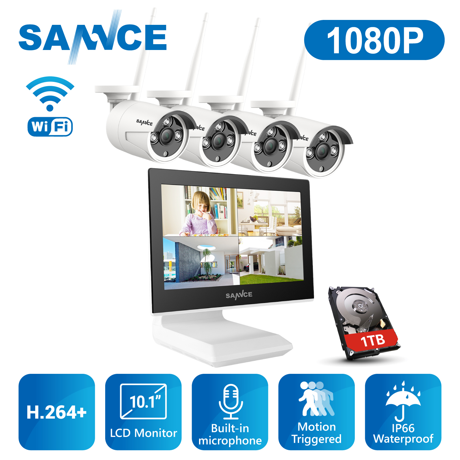 """SANNCE 1080P 10/"""" LCD Monitor 4CH DVR 2MP Dome HD CCTV Security Camera System 1TB"""