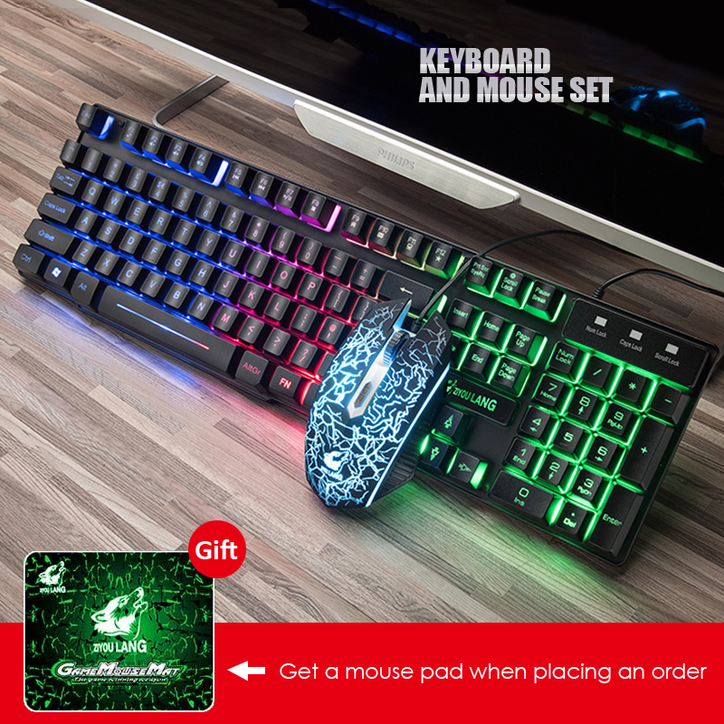 Gaming Keyboard And Mouse Combos with Colorful LED Backlit Rainbow Wired Computer Keyboard and USB Mouse Set for PC Laptop Gift